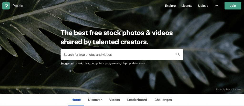 Pexels.com Homepage - Stock Image Website