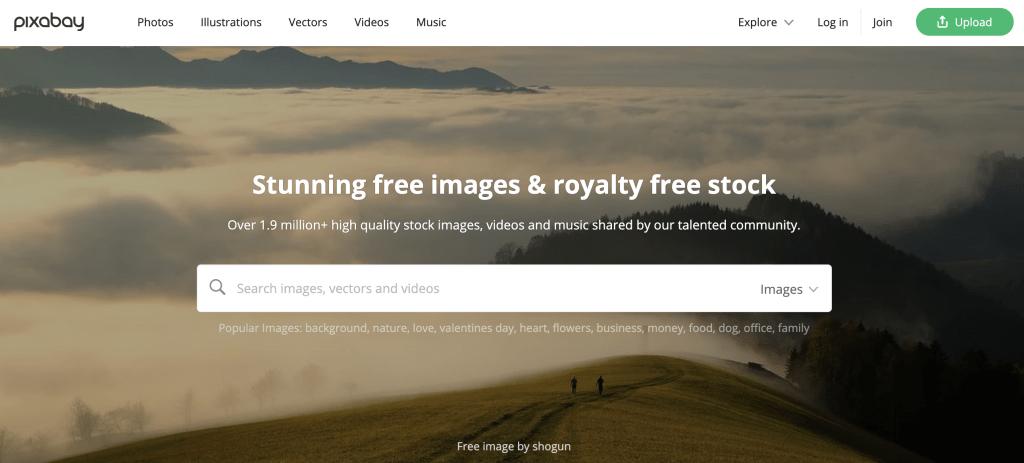 Pixabay.com Homepage - Stock Image Website