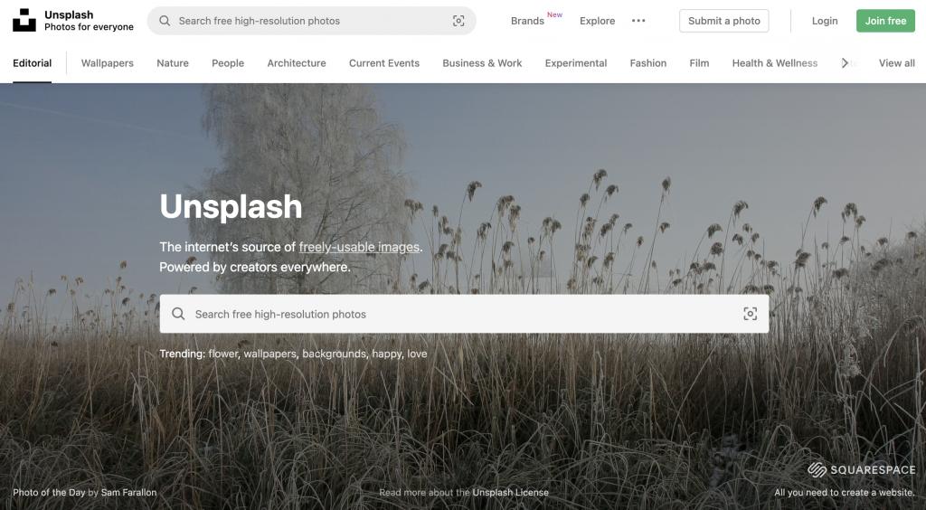 Unsplash.com Homepage - Website Example