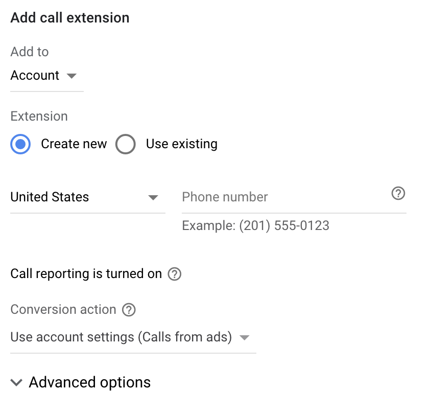 google call extension