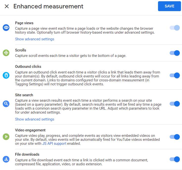 GA4 Enhanced Measurement Options