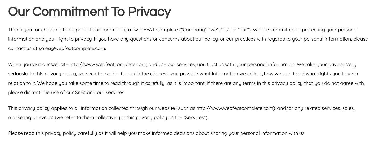 webFEAT Complete's privacy policy intro paragraph