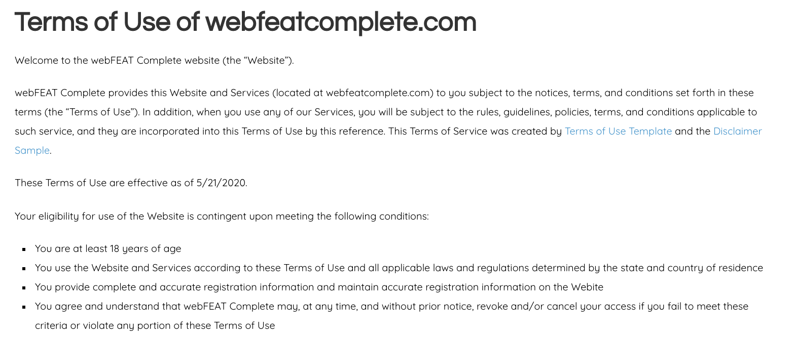 webFEAT Complete's terms of use intro paragraph