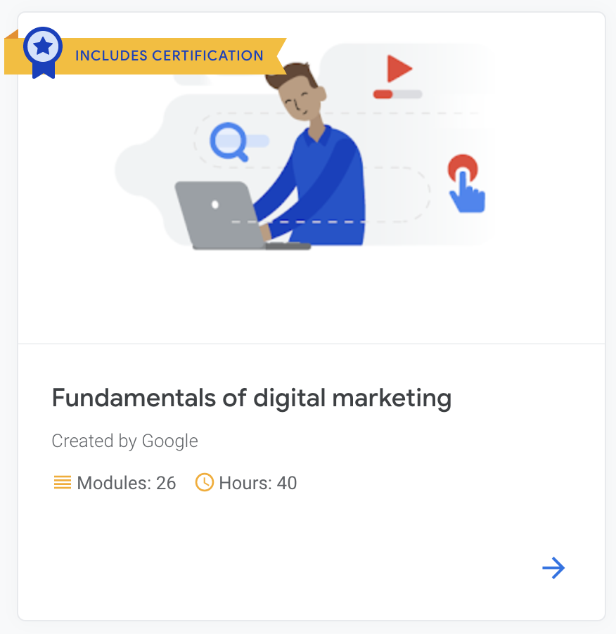 Digital marketing educational resource Google Digital Garage fundamentals of digital marketing course