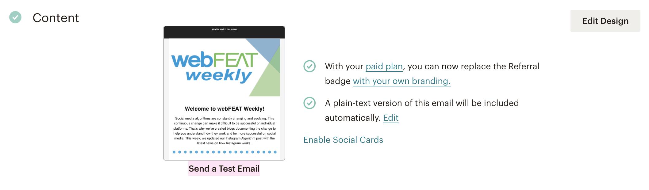 Mailchimp send test email screen
