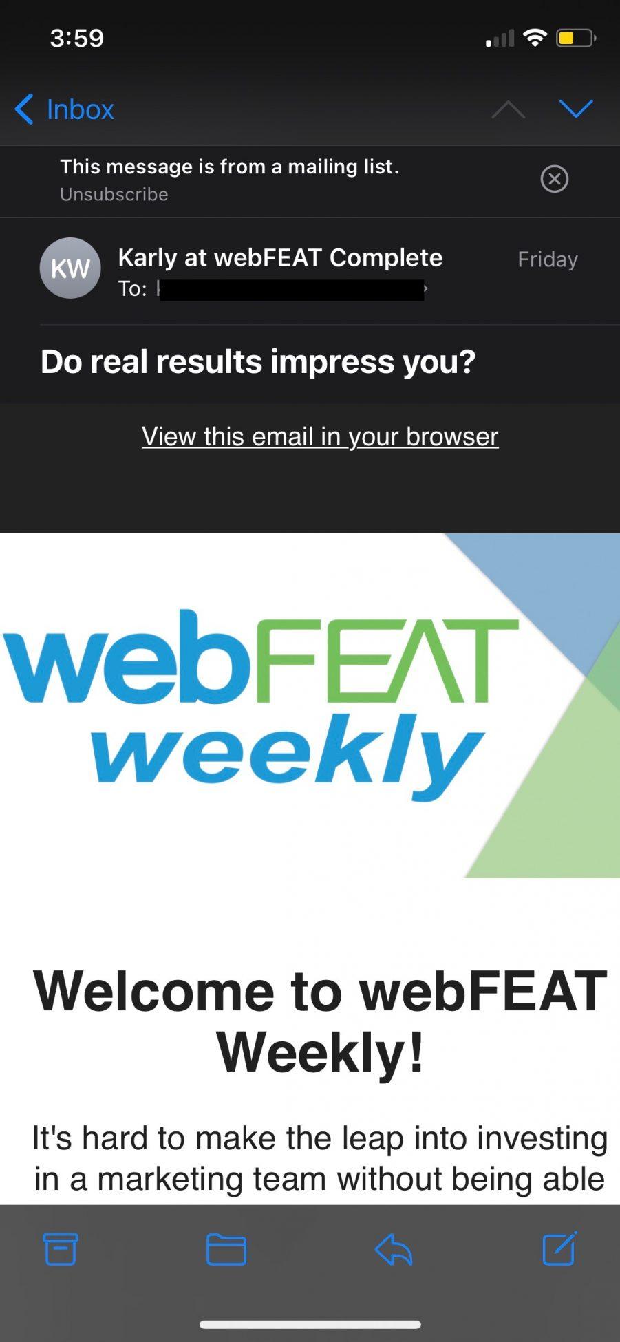 webFEAT Weekly example on mobile screen